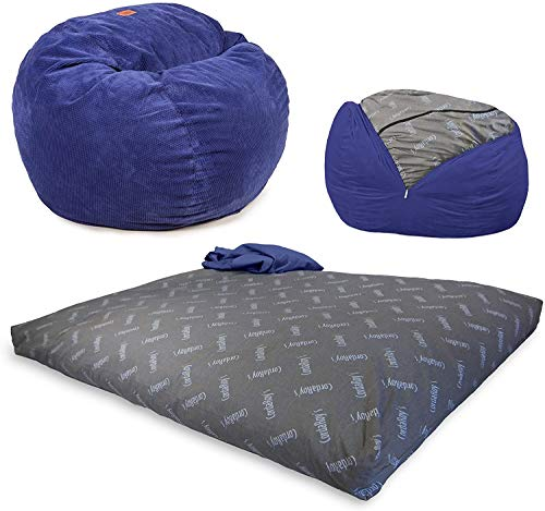 CordaRoy's Chenille Bean Bag Chair, Convertible Chair Folds from Bean Bag to Bed, As Seen on Shark Tank - Navy, Queen Size
