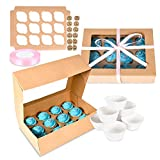 Surf City Supplies Bakery Cupcake Box Bundle! 12 Pack with Clear...