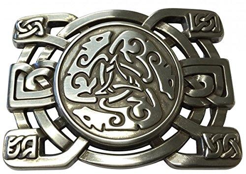 Brazil Lederwaren Gürtelschnalle Celtic Buckle 4,0 cm | Buckle Wechselschließe Gürtelschließe 40mm Massiv | LARP- und Mittelalter-Outfit | Silber