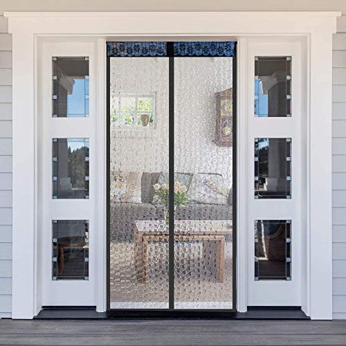 Insulated Door Curtain,FAYEAH Thermal Magnetic Self-Closing Privacy Door Screen Winter Keep Warm for Kitchen, Bedroom,Air Conditioner Room (Fits Door Up to 36 x 82 Inch, Black - Semitransparent Style)