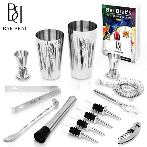 Premium 14 Piece Cocktail Making Set & Bar Kit by Bar Brat / Free 130+ Cocktail Recipes (Ebook) Included/Make Any Drink With This Bartender Kit