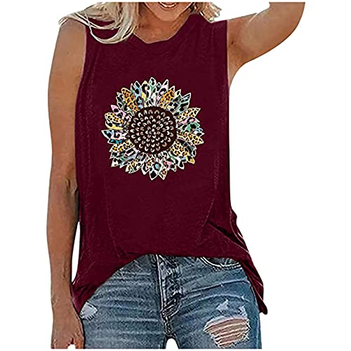 BUGI Party Tank Tops for Women Elegant Plus Size Sunflower Printed Tee Shirts Womens Tank Tops Casual Loose Fit Wine