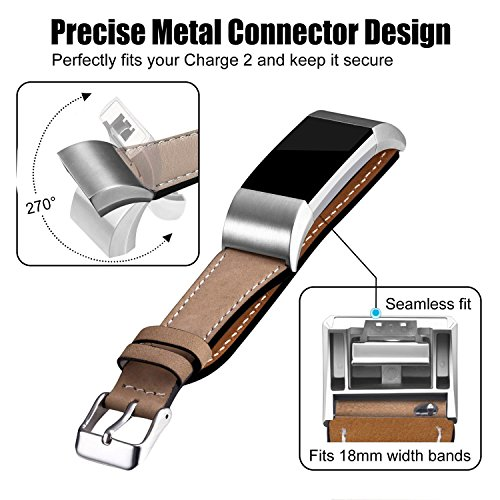 Hotodeal Replacement Leather Band Compatible for Charge 2, Classic Genuine Leather Wristband Metal Connector Watch Bands, Fitness Strap Women Men Small Large (Light Brown- Silver Buckle) 7