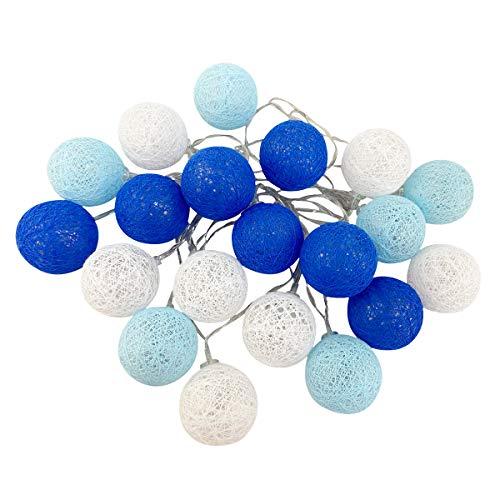Cadena de luces para interiores, bolas de algodón, con pilas, 3,5 m, 20 ledes, para niñas, adolescentes, decoración de habitaciones, terrazas, Navidad, bodas, fiestas (4 cm de batería, azul)