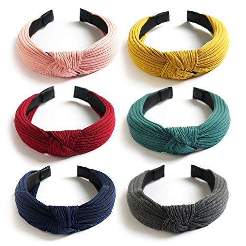 Damen Haarreife - 4/6 Stück Retro Stirnband Vintage Boho Stirnbänder Blumendruck Frauen Kopfband Turban Twist Knoten Haarband Sport Yoga Haarreifen (Rosa)