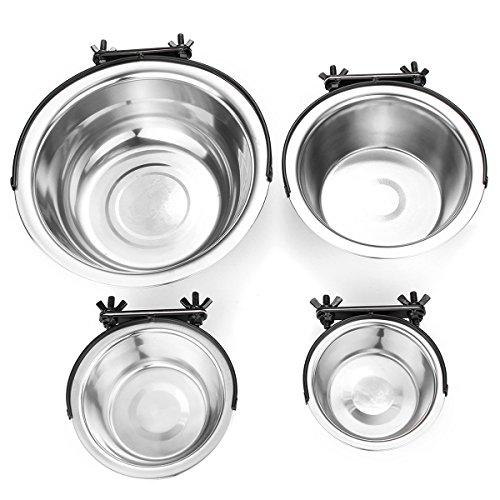 MJJEsports Roestvrij Staal Huisdier Hond Puppy Opknoping Voedsel Water Bowl Feeder Voor Crate Kooi Coop Decoraties, M, 1