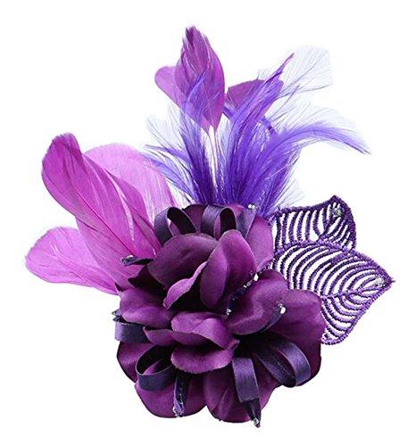 Tela de la pluma de la boda nupcial accesorios para el cabello flor broche