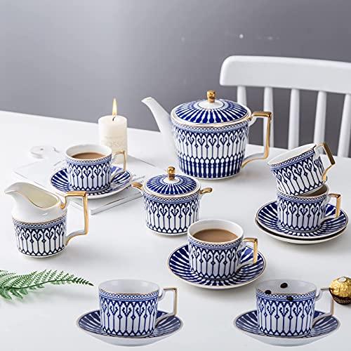 FHISD Juego de té de Porcelana de 11 Piezas, Tazas de café y platillo de 4, Tazas de café de cerámica con Tetera con diseño de Castillo, azucarero, Jarra de Crema, 15 Piezas