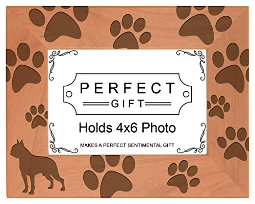 Gifts For All By Rachel Olevia Dog Lover Gift Boston Terrier Paw Prints Natural Wood Engraved 4x6 Landscape Picture Frame Wood