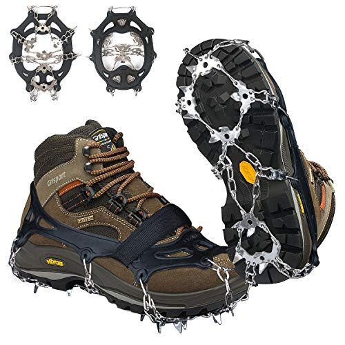 Crampons Ice Cleats Traction Snow Grips for Boots Shoes Women Men Kids Anti Slip 19 Stainless Steel Spikes Safe Protect for Hiking Fishing Walking Climbing Mountaineering L Size