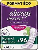 Always Discreet Serviettes, Long, Plus, 96 Serviettes, Format Eco, Pour Incontinence et Fuites...
