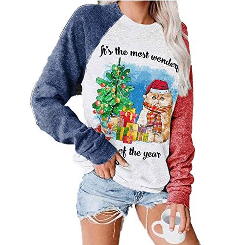 Camiseta de Manga Larga con Estampado de Navidad para Mujer, Color de Bloque de Color túnica, Sudadera con Capucha de Navidad Casual a Rayas Camiseta de Manga Larga túnica Tops de algodón