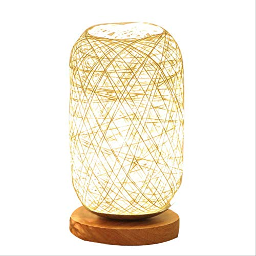 Tafellampen ZWRY Uniek ontwerp Hoogwaardig hout Rotan Twine Ball Lights Tafellamp Kamer Home Art Decoration Bureaulamp Volledig licht Scherm 14x12x23cm Beige