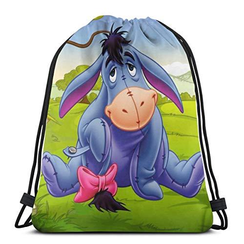 Klassische Tasche mit Kordelzug, Esel-Motiv, grauer Esel