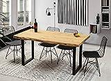 Gozos Berne Design Esstisch 140 x 80 Massivholz – massiver Echtholztisch aus Fichte mit schwarzen U-Metallbeinen, Echtholz Küchentisch, Esszimmertisch mit massiver Tischplatte