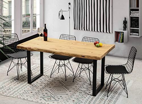 Gozos Esstisch Massivholz aus Baumstamm - Holztisch Esszimmer 140x80 aus massiven Holz mit U-Metallbeinen - Baumkantentisch handgefertigt aus Echtholz
