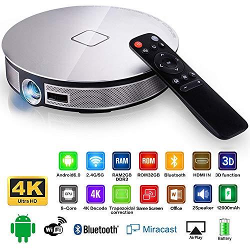 GJZhuan Mini proyector portátil, 200 lúmenes DLP 1280 * 720 Resolución 300 Pulgadas de Pantalla Grande Beamer Home Cinema 4K proyector de vídeo de Alta definición Inteligente WiFi D8S proyectores
