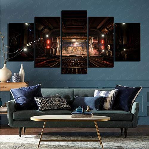 mmkow Lienzo 5 Piezas de Videojuego Doom (2016) Salón para decoración del hogar 80x150cm (Marco)