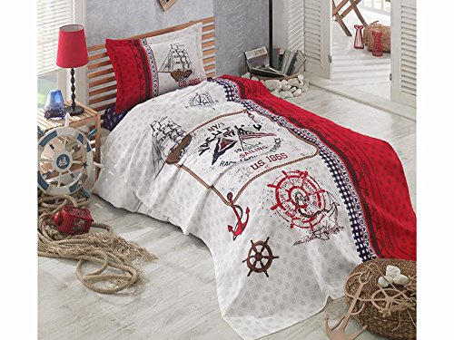 TI Home Clasy Alesta Yatching Sailor Red White Bedspread Coverlet Set, 100% Cotton Single Size 3 Pcs