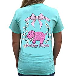 Southern Attitude Pig Sea Foam Green Cute Preppy Animal Short Sleeve Shirt
