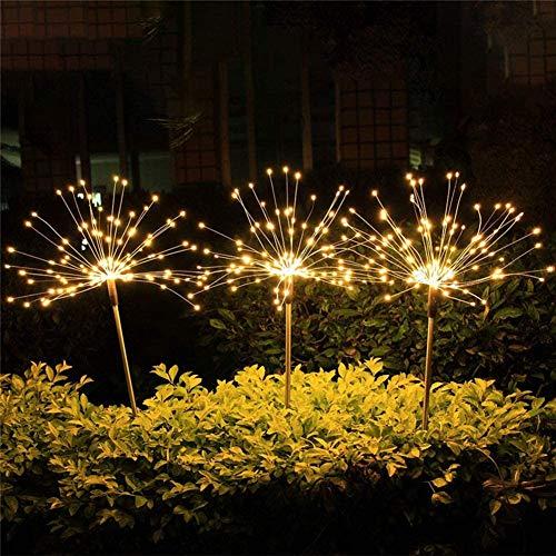 Solar Garten Lichter Garten Outdoor Dekorative Solar Feuerwerk Lichter Wasserdicht Solar Starburst Leuchten Garten Laternen Fee 90 LED Lichter mit 8 Leuchtmodi für Terrasse Hof Blumenbeet warmweiß