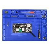AidSci Silikon Antistatische Magnetische 500℃ Hitzebeständige Lötmatte mit 1 Pcs Pinzette, Reparatur Matte für Löten von Elektronik Smartphone Uhren Schmuck(Blau-44x33cm)
