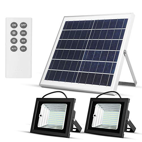 Solar Lights Outdoor Dusk to Dawn Flood Lights Solar Lights Remote 15W 13.8' Solar Panels 800LM Dual 98 LED Lights IP65 Waterproof for Flag Pole Shed Barn Pool Business Sign Security Lights