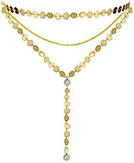 Layered Coin Choker Necklace Women Gold Tone