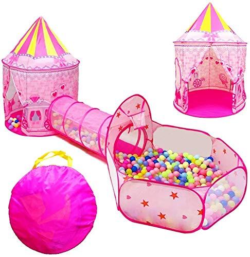LMBASKET Tiendas de Campaña Infantiles, 3 en 1 Pop Up Tent Niños Plegable Tienda De Juegos con Túneles y Piscina de Bolas para Interior y Exteriores