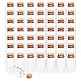 Kingrol 50 Pack 20ml Cork Stoppers Glass Bottles, Wishing Bottles, Mini Storage Bottle for Arts, Crafts, Decoration, Party Favors