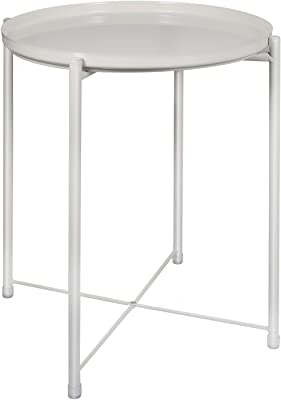 """Tray Metal End Table, Round Tray End Table, Sofa Table Small Tray Metal Side Tables, Foldable Accent Coffee Table, Anti-Rust and Waterproof Outdoor & Indoor Snack Table - (H) 20.5"""" x (D) 16"""" -White"""
