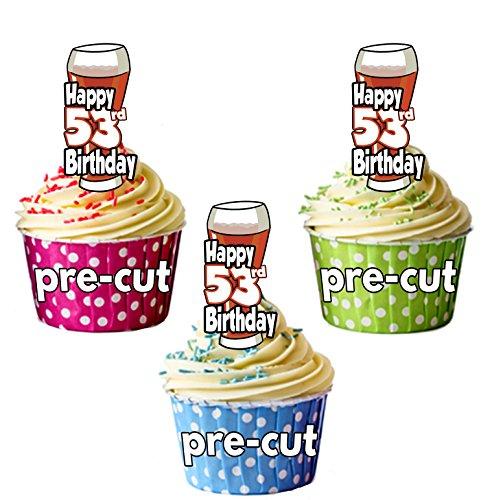 PRECUTA - Juego de 12 adornos comestibles para cupcakes, diseño de cerveza y pinta de Ale, 53 cumpleaños