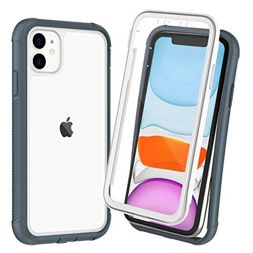 OTBBA iPhone 11 Case, Full-Body with Built-in Screen Protector Heavy Drop Protection Shock Absorption Cover Case Designed for iPhone 11-6.1 inch (White-Clear)