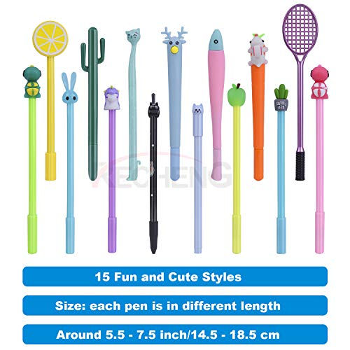 RECHENG Gel Ink Rollerball Pen,Cute Cartoon Pens Fun pens kawaii pens Animal gel pens Ball Point Pens for Kids Gift,Writing Pens for Home Office School Party -15pcs set crazy pens