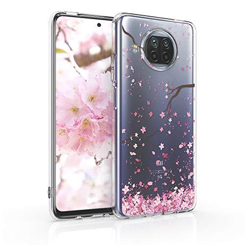 kwmobile Hülle kompatibel mit Xiaomi Mi 10T Lite - Hülle Silikon transparent Kirschblütenblätter Rosa Dunkelbraun Transparent