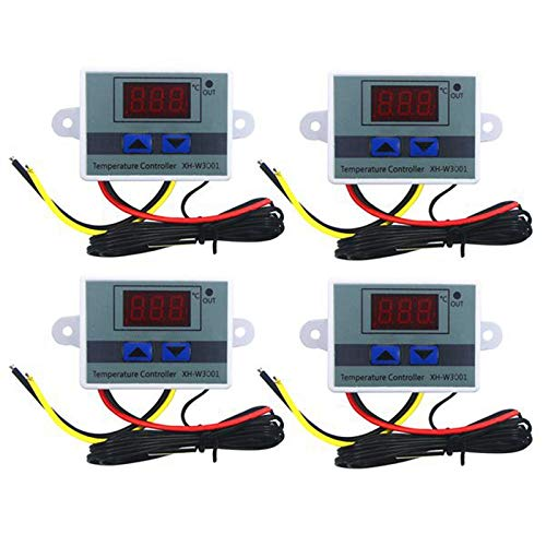 Tuneway 4Pcs 110-220V Ac Digital Led Temperature Controller Xh-W3001 for Incubator Cooling Heating Switch Thermostat Ntc Sensor