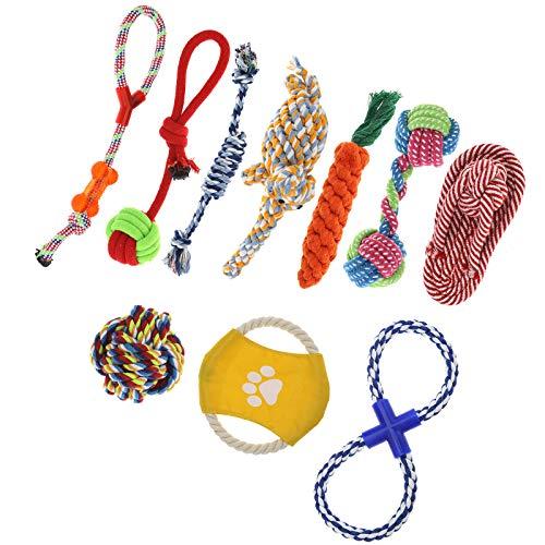 ENET - 10 piezas de juguetes de cuerda para perro, resistentes, resistentes, para masticar, peluche, perro, oso de algodón, juguete de regalo