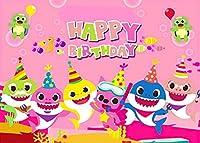 7×5フィート 漫画ピンクベビーシャークファミリー写真背景 子供の誕生日パーティー写真背景 海テーマ BV042