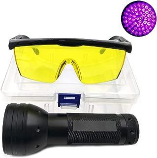 Nikauto UV Flashlight Black Light 51 LED Flashlight and UV Protective Glasses Goggles Detector Tool for Detecting pet Cat Dog Urine Repairing car Checking Money
