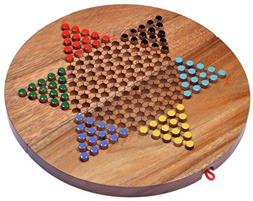 LOGOPLAY Halma Gr. XL - Stern Halma - Chinese Checkers - Strategiespiel - Gesellschaftsspiel aus Holz mit rundem, klappbarem Spielbrett