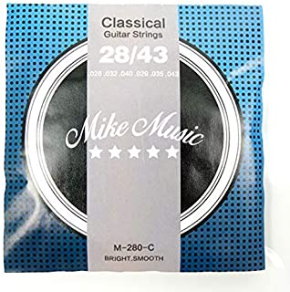 MIKE MUSIC Classical Guitar Strings Nylon Silver wound, Light Great Bright,Rust prevention.028-.043 1-Pack (Classical Guit...