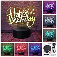 3Dイリュージョンナイトライト お誕生日おめでとう風船 キッズ3DLEDナイトライトファッション7色段階的に変化するスマートタッチスイッチUSBテーブルランプホリデークリスマスおもちゃギフト家の装飾