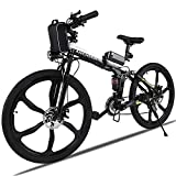 <span class='highlight'><span class='highlight'>ANCHEER</span></span> Electric Mountain Bike, 26'' Folding Electric Bike with Magnesium Alloy 6-Spoke Integrated Wheels and Advanced full Suspension, Ebike with Shimano 21-Speed Gear for men/women/adults