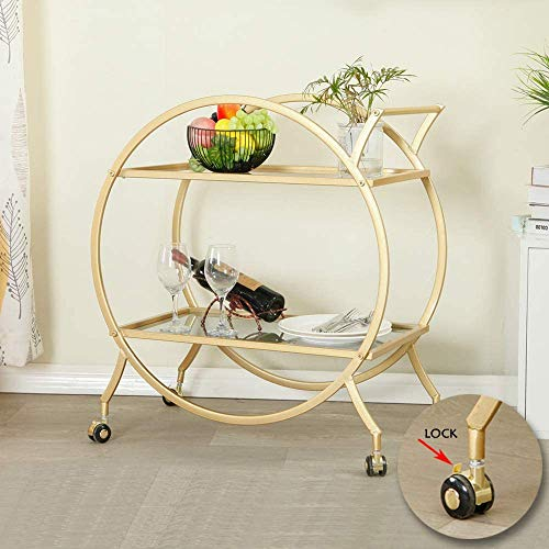 MAIKAILUN Bar Cart with 2 Mirrored Shelves, Modern Metal Bar Serving Cart with Locking Caster Wheels and Handle, Gold Round Bar Carts for The Home,Kitchen,Club,Living Room(28.34''W14.96''D31''H)