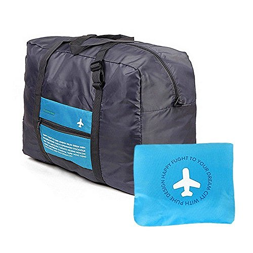 CAMTOA Borsone pieghevole in nylon impermeabile/sacca portaoggetti da viaggio, campeggio, attrezzi sport/palestra larga capacità leggero trolley/sporta, può essere fissato su il manico di valigia e bagaglio- ca. 47 x 38 x 16.5 cm, Blue