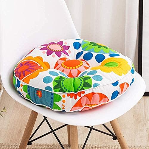 Cojines de silla Cojines de asiento Un juego de 2 Cojines de futón hechos a mano de tela cruda gruesa Cojín de ventana salediza Yoga Meditación Meditación Sun Flower Redondo 45X45cm para cocina Comedo