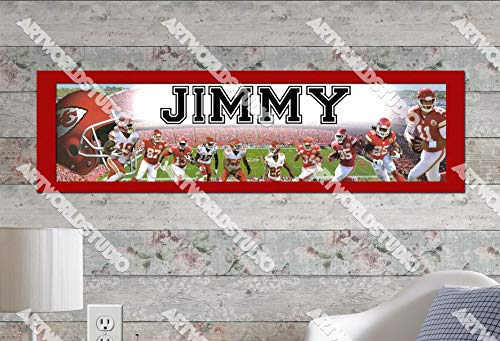"""Kansas City Chiefs - 10""""x32"""" Personalized Name Poster with Border Mat, Customize Name Sign, Birthday Party Banner"""