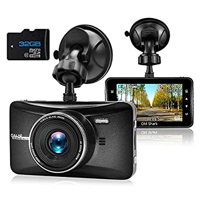 OldShark Full HD 1080P Dash Cam 170 Degree Wide Angle 3 Inch Dashboard Camera Vehicle Recorder Support G-Sensor, Night Vision, WDR, Parking Guard, Loop Recording 32GB SD Card Included