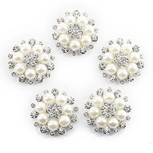 ULTNICE Faux Pearl fiore pulsanti abbellimenti per Craft pulsanti confezione da 10
