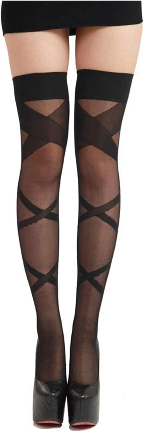mimiliy Fashion Ladies High Stockings See-Through Thigh Pantyhose Cross Striped Stockings (Color : Black, S : One Size)